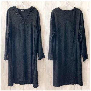 CP Shades Solid Black Jacquard Floral Midi Dress M